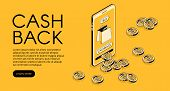 Cashback Shopping Vector Illustration, Money Cash Back Reward For Purchase From Smartphone Applicati poster
