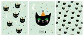 Funny Hand Drawn Black Cat Vector Illustration Set. Cute Infantile Style Cards And Pattern. Green Mi poster