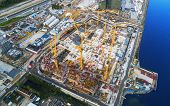 Aerial View Of A Construction Crane Tower. Top View Crane And Building Working Progress. Worker. Con poster