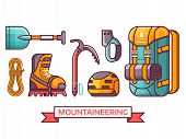 Climbing And Mountain Hiking Icon Set With Professional Mountaineering Equipment. Summer Alpinist Ex poster