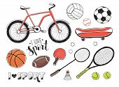 Collection Of Vector Sport Equipment. Illustration Of Handdrawn Sport Items. Hand Drawn Sport Balls, poster
