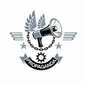 Vector Winged Logo Composed With Megaphone Equipment Surrounded By Iron Chain And Engineering Cog Wh poster