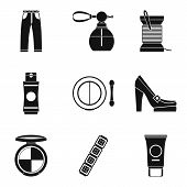 Lady Accessories Icons Set. Simple Set Of 9 Lady Accessories Icons For Web Isolated On White Backgro poster