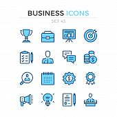 Business Icons. Vector Line Icons Set. Premium Quality. Simple Thin Line Design. Modern Outline Symb poster