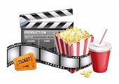 stock photo of movie theater  - vector illustration of background of movie related items - JPG