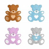 Hand Drawn Teddy Bear. Kids Toy. Toys Logo. Animals. Cute Bear. Set Of Colorful Teddy Bear Isolated  poster