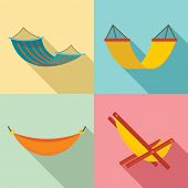 Hammock Icon Set. Flat Set Of Hammock Vector Icons For Web Design poster