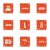 Urban Movement Icons Set. Grunge Set Of 9 Urban Movement Icons For Web Isolated On White Background poster