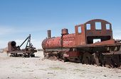 picture of wreckers  - Old train in a wrecker yard - JPG