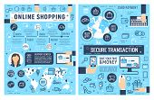 Safe Online Shopping And Internet Payment Security Posters, Secure E-commerce Business. Web Store Cu poster