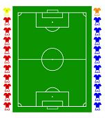 A football, soccer pitch tactical vector with two teams of footballers and a pitch representation. A
