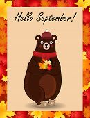 Vector Cartoon Character Illustration Of Cute Bear In Red Knitted Scarf And Hat Holding Maple Leaves poster