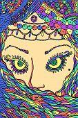 Muslim Woman - Fantastic Art. Doodle Psychedelic Graphic Artwork. Vector Illustration. poster
