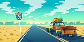 Vector Desert Landscape With Jeep On Asphalt Way To Canyon, Wasteland. Route 66 With Transport, Bagg poster