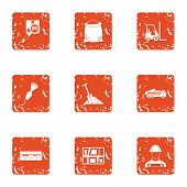 Posting Icons Set. Grunge Set Of 9 Posting Icons For Web Isolated On White Background poster