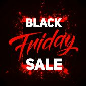 Vector Black Friday Sale Background With Shining Blast Of Red Fireworks. Vector Illustration On Blac poster