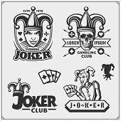 Set Of Casino And Poker Emblems And Labels With Joker And Playing Cards. poster