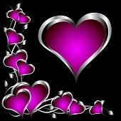 foto of valentines day  - A purple hearts Valentines Day Background with silver hearts and flowers on a black background - JPG
