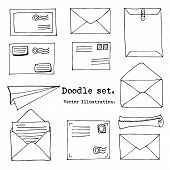 Hand Drawn Mail, Post, Letter,envelope, Paper Plane Set. Vector Illustration. Doodle Elements. Mail  poster