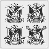 Cricket, Baseball, Lacrosse And Hockey Badges And Labels. Sport Club Emblems With Joker. poster