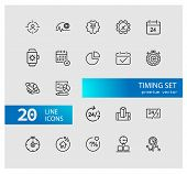 Timing Icons. Set Of Line Icons. All The Day, Deadline, Schedule. Time Management Concept. Vector Il poster