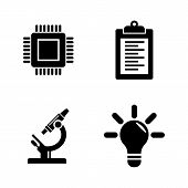 Research, Development. Simple Related Vector Icons Set For Video, Mobile Apps, Web Sites, Print Proj poster