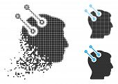 Neural Interface Connectors Icon In Dispersed, Dotted Halftone And Original Variants. Cells Are Comb poster