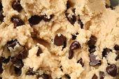 image of chocolate-chip  - close up of chocolate chip cookie dough - JPG