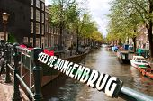 View from a bridge Kees de Jongenbrug to one of Amsterdam Canals poster