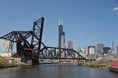 Railroad Railway Bridges Over The Chicago River With Chicago Skyline Skyscrapers In The Background U poster