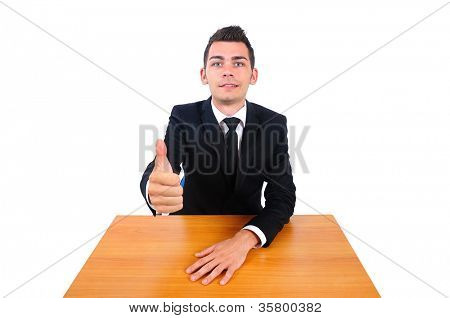 Isolated business man approve at desk