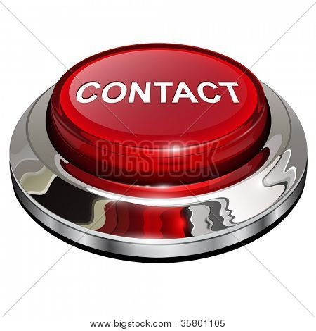 Contact button, 3d red glossy metallic icon, vector.