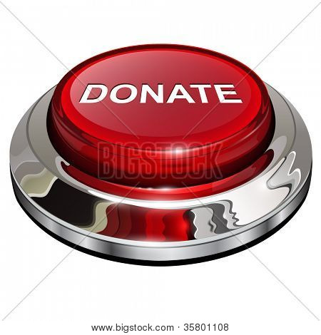 Donate button, 3d red glossy metallic icon, vector.