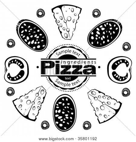 Ingredients for pizza with salami. Vector illustration in the engraving style, can be used for design labels and package