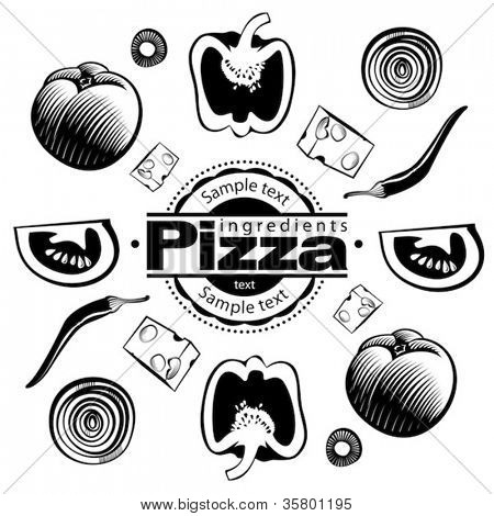 Ingredients for  vegetable pizza. Vector illustration in the engraving style, can be used for design labels and package