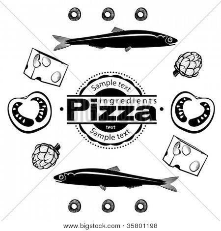 Ingredients for  pizza with anchovies. Vector illustration in the engraving style, can be used for design labels and package