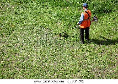 Man lawn-mower with chopper trimer moving grass at sunny summer day.