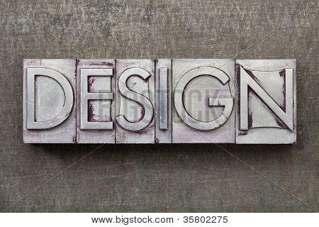 design  - word in vintage letterpress metal type against a grunge steel sheet