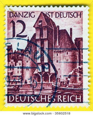 GERMANY - CIRCA 1938: A stamp printed in Germany   showing the city Gdansk taken over by Nazi Germans , circa 1938