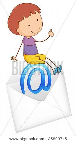 illustration of a boy sitting on mail envelop on a white