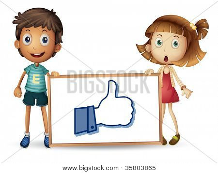 illustration of kids showing thumb picture on a white