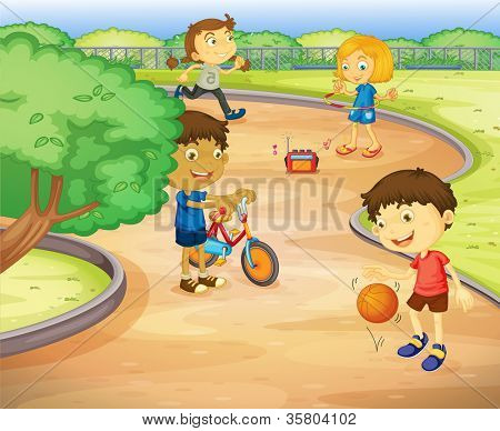 illustration of a kids playing in the garden