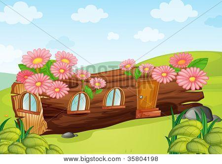Ilustración de una casa de madera sobre un fondo azul