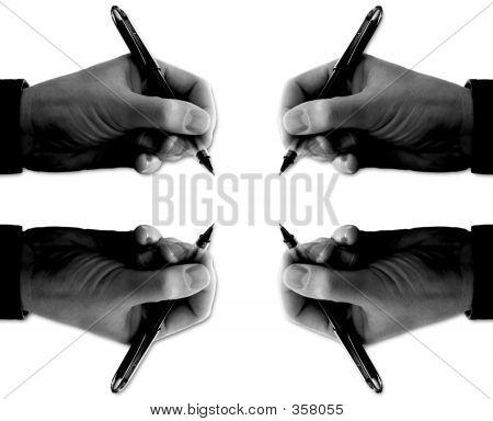 Hand Pens Four B & W