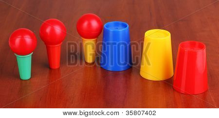 Magician set on wooden background