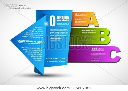 Paper style ranking elements with real origami effect to use for display 3 different options.