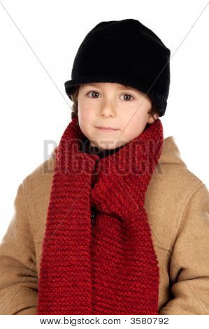 Child Handsome Very Warm With Hat And Scarf Wool