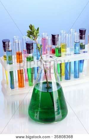 Different laboratory glassware with color liquid on blue background