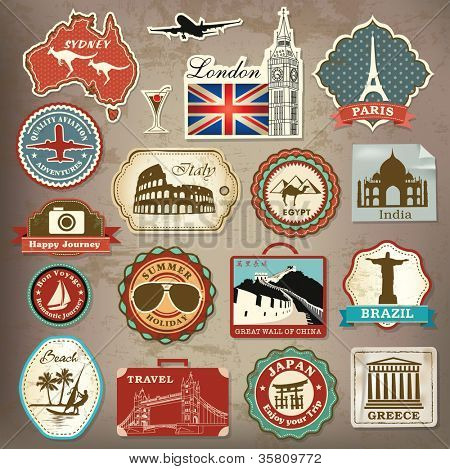 Collection of vintage retro grunge vacation & travel labels, labels, badges and icons