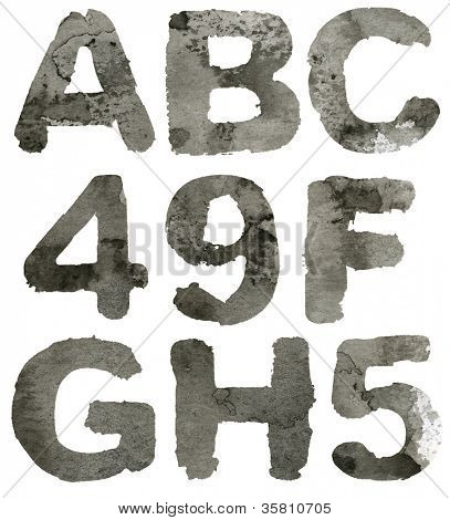 Textured gray ink alphabet, isolated.